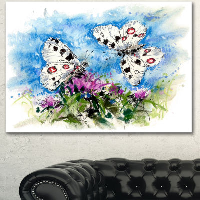 Designart Apollo Butterflies Illustration On BlueFloral Art Canvas Print