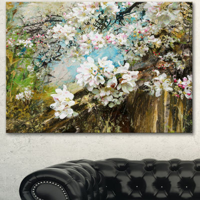 Designart Apple Blossoms With White Flowers FloralArt Canvas Print 3 Panels