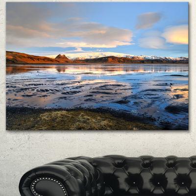 Designart Approach To Dyrholaey Durign Sunrise Large Seashore Canvas Art Print 3 Panels