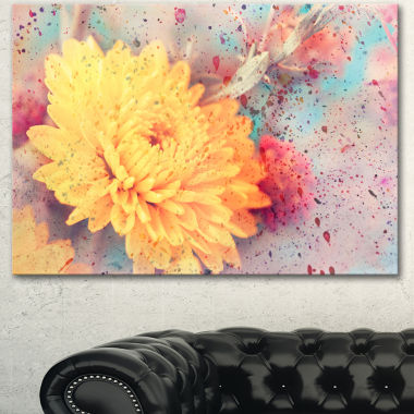 Design Art Aster Flower With Watercolor Splashes Flower Artwork On Canvas