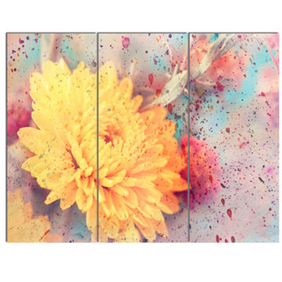 Designart Aster Flower With Watercolor Splashes Flower Artwork On Canvas 3 Panels