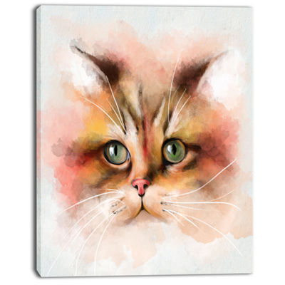 Designart Attractive Brown Cat Watercolor AnimalCanvas Art Print