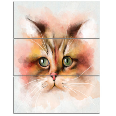Designart Attractive Brown Cat Watercolor Animal Canvas Art Print  3 Panels