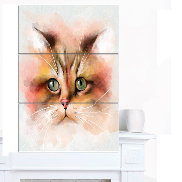 Designart Attractive Brown Cat Watercolor AnimalCanvas Art Print 3 Panels