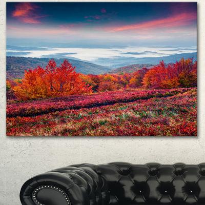 Designart Autumn In The Carpathian Mountains Landscape Canvas Art Print  3 Panels