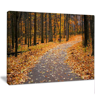 Designart Autumn Walk Way With Fallen Leaves Modern Forest Canvas Art