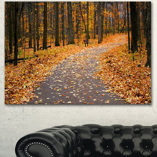 Designart Autumn Walk Way With Fallen Leaves Modern Forest Canvas Art 3 Panels