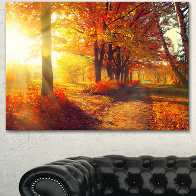 Designart Autumnal Trees In Sunrays Large Landscape Canvas Art Print