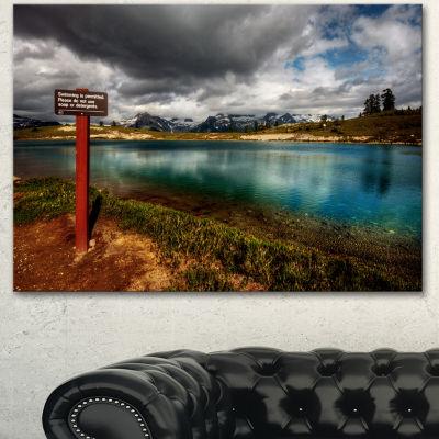 Designart Azure Mountain Lake With Clouds Landscape Canvas Art Print