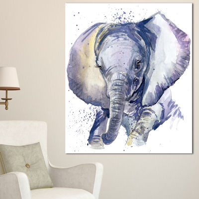 Designart Baby Elephant Blue Watercolor AbstractCanvas Art Print