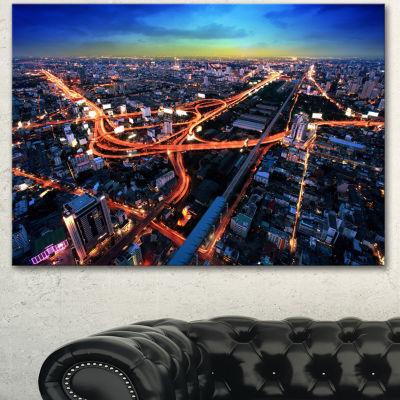 Designart Bangkok Expressway Aerial View Extra Large Canvas Art Print 3 Panels