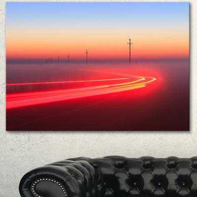 Designart Barcelona Street Traffic Trail Extra Large Canvas Art Print 3 Panels