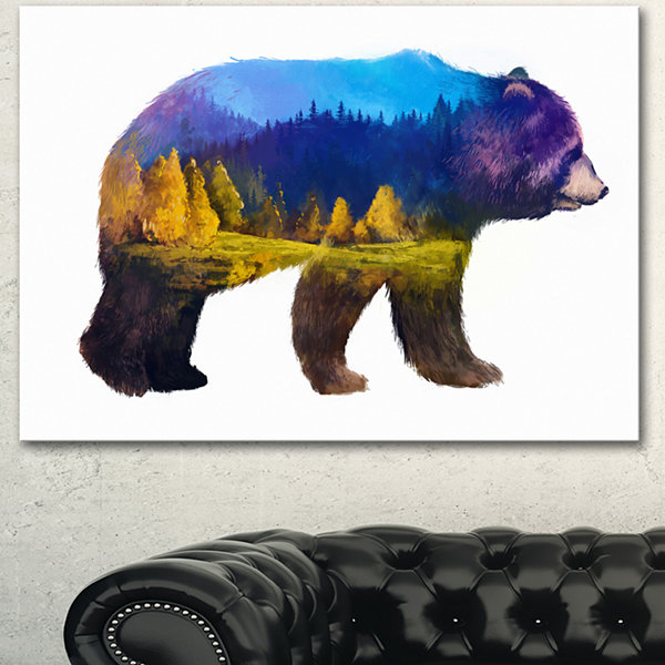 Designart Bear Double Exposure Illustration LargeAnimal Canvas Art Print 3 Panels