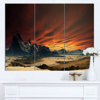 Designart Beautiful Alien Planet Traos Landscape Canvas Art Print  3 Panels