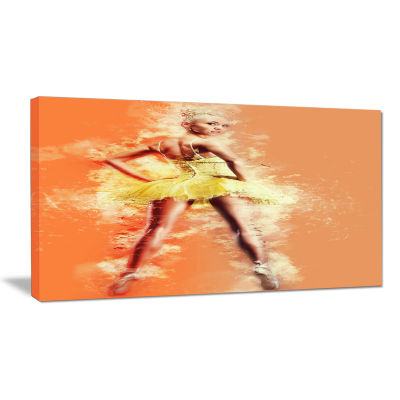 Designart Beautiful Ballerina In Yellow Tutu Portrait Canvas Art Print