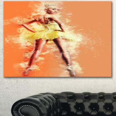 Designart Beautiful Ballerina In Yellow Tutu Portrait Canvas Art Print 3 Panels