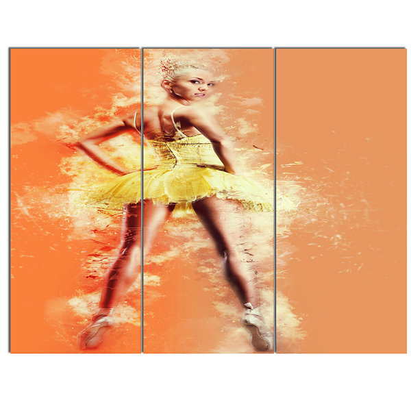Designart Beautiful Ballerina In Yellow Tutu Portrait Canvas Art Print 3 Panels