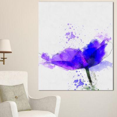 Designart Beautiful Blue Anemone Sketch Floral Canvas Art Print 3 Panels
