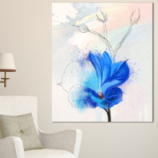 Designart Beautiful Blue Flower Watercolor FloralCanvas Art Print