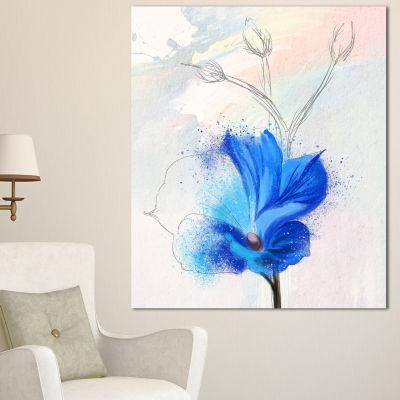 Designart Beautiful Blue Flower Watercolor FloralCanvas Art Print  3 Panels