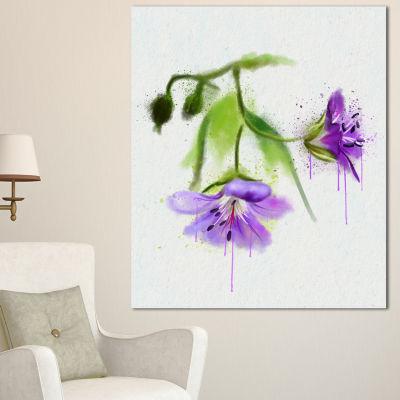 Designart Beautiful Blue Flowers With Stem LargeFloral Canvas Artwork