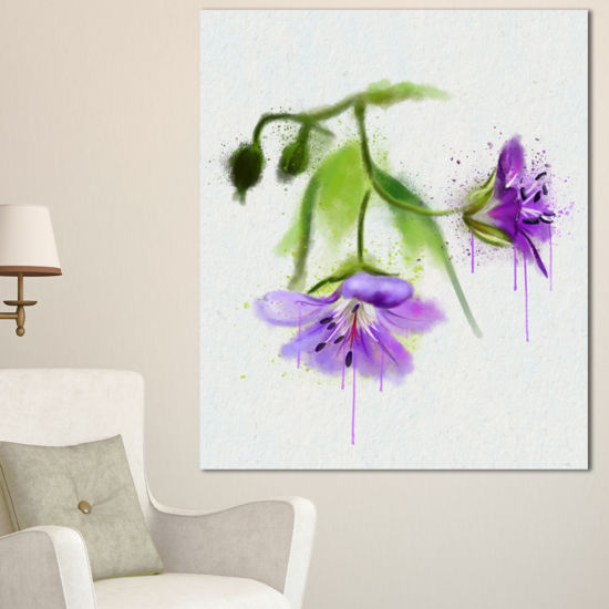 Designart Beautiful Blue Flowers With Stem LargeFloral Canvas Artwork