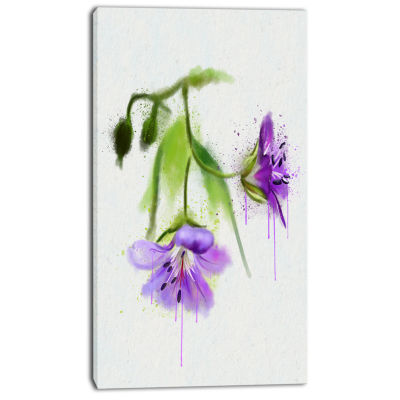 Designart Beautiful Blue Flowers With Stem Large Floral Canvas Artwork