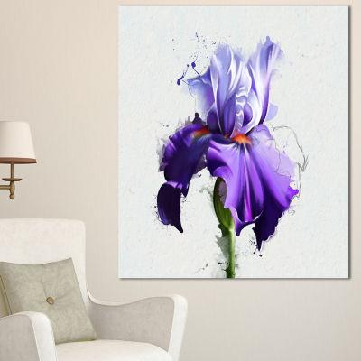 Designart Beautiful Blue Iris Watercolor Sketch Floral Canvas Art Print