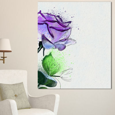 Designart Beautiful Blue Rose With Leaves FloralCanvas Art Print