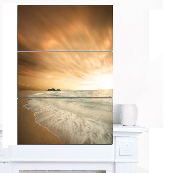 Designart Beautiful Brown Beach At Sunset Large Beach Canvas Wall Art 3 Panels