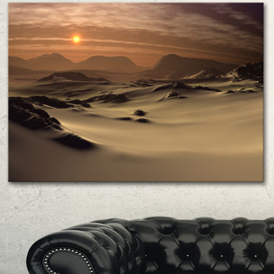 Designart Beautiful Brown Fantasy Terrain Landscape Canvas Art Print 3 Panels