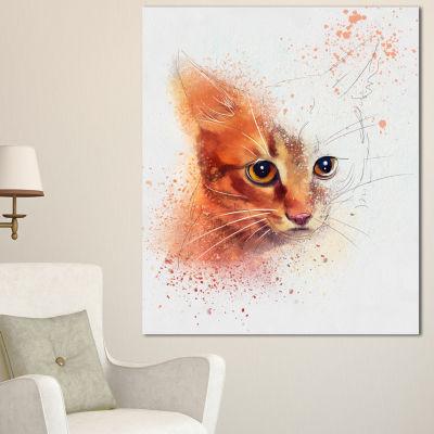 Designart Beautiful Brown Kitten Watercolor AnimalCanvas Art Print