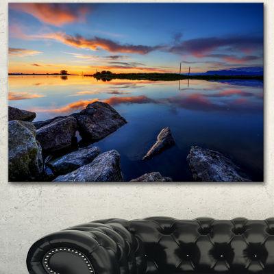 Designart Beautiful Calm Water And Sunset Large Landscape Canvas Art