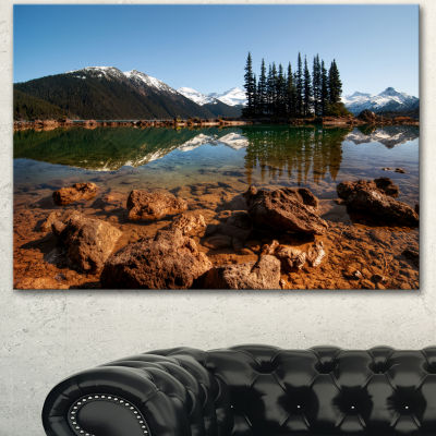 Designart Beautiful Clear Lake With Pine Trees Extra Large Landscape Canvas Art Print