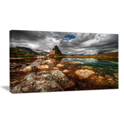 Designart Beautiful Clear Mountain Lake LandscapeCanvas Art Print