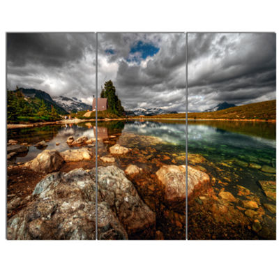 Designart Beautiful Clear Mountain Lake LandscapeCanvas Art Print 3 Panels