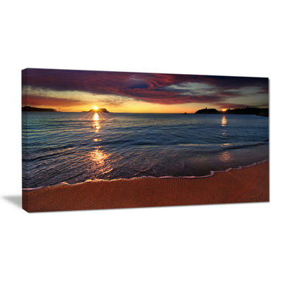 Designart Beautiful Clear Seashore At Sunset Seashore Canvas Art Print