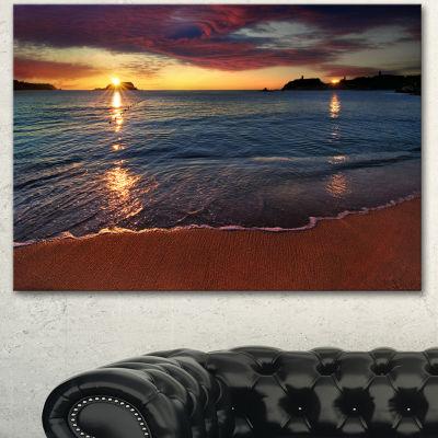 Designart Beautiful Clear Seashore At Sunset Seashore Canvas Art Print  3 Panels