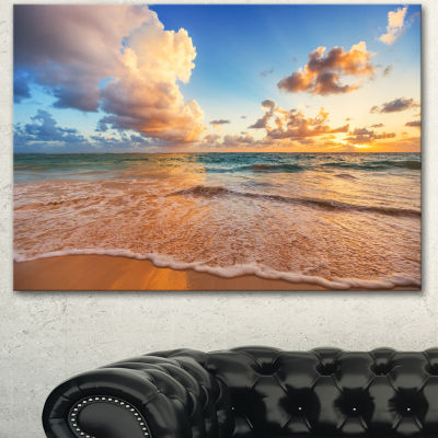 Designart Beautiful Cloudscape Over Beach Large Beach Canvas Wall Art