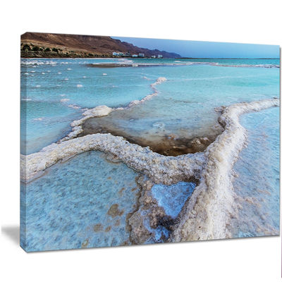 Designart Beautiful Coast Of The Dead Sea Large Beach Canvas Wall Art