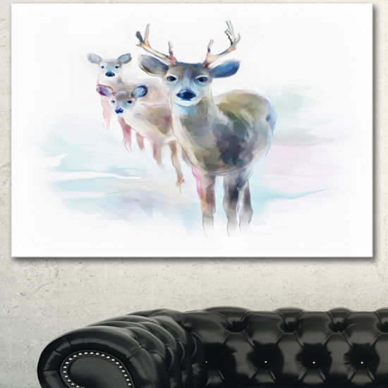 Designart Beautiful Deer With Big Horns Animal Canvas Art Print