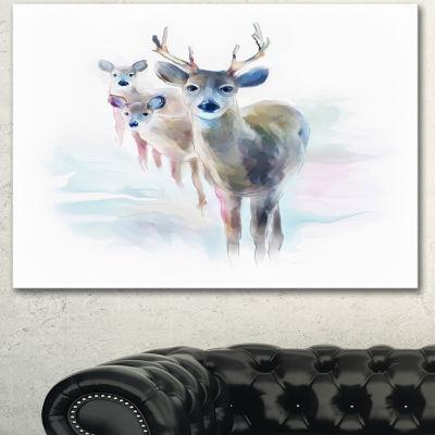 Design Art Beautiful Deer With Big Horns Animal Canvas Art Print 3 Panels