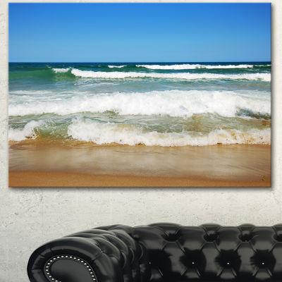 Designart Beautiful Empty Beach Under Blue Sky Large Seashore Canvas Art Print 3 Panels