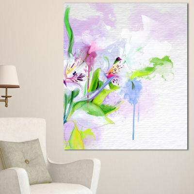 Designart Beautiful Floral Sketch Watercolor Floral Canvas Art Print 3 Panels