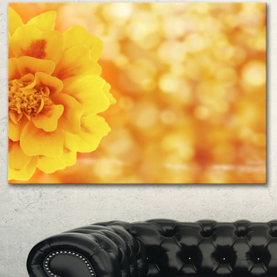 Designart Beautiful Floral Yellow Background LargeFloral Canvas Artwork