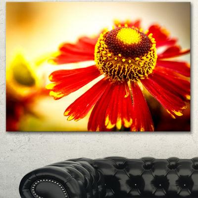 Designart Beautiful Flower On Yellow Background Flower Artwork On Canvas 3 Panels