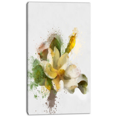 Designart Beautiful Flower With Color Splashes Floral Canvas Art Print