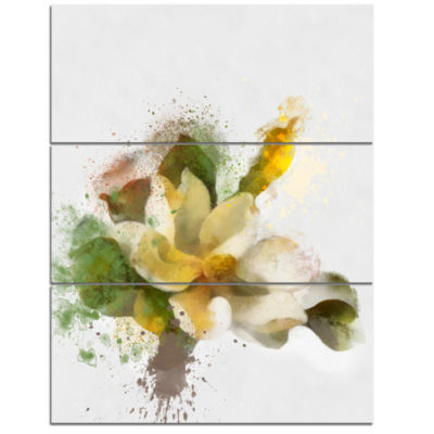 Designart Beautiful Flower With Color Splashes Floral Canvas Art Print  3 Panels