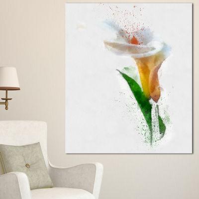Designart Beautiful Flower With Paint Splashes Large Floral Canvas Artwork