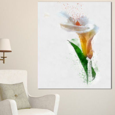 Designart Beautiful Flower With Paint Splashes Large Floral Canvas Artwork 3 Panels